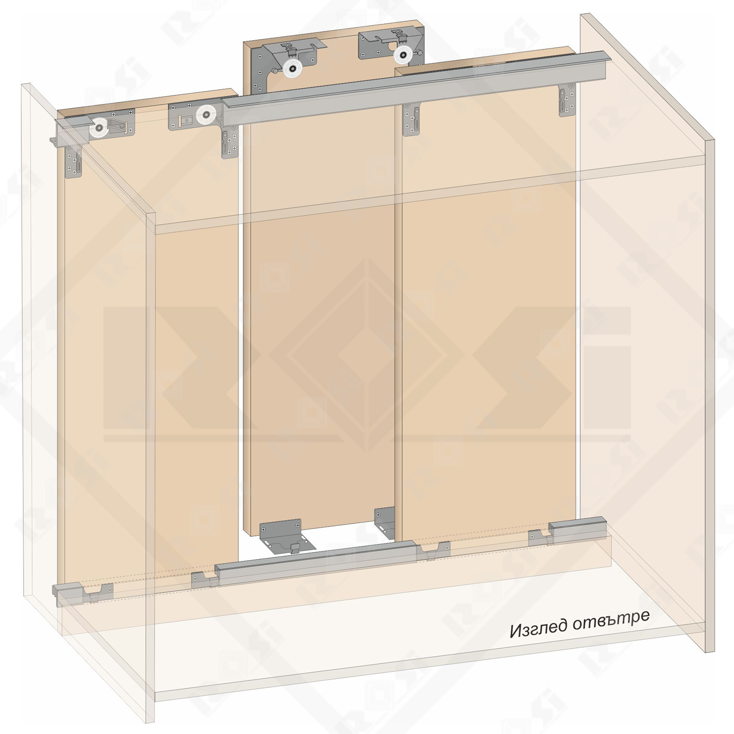 Sliding mechanism for cabinets - for 2 or 3 doors  sc 1 th 225 & Sliding mechanism for cabinets - for 2 or 3 doors - Rosi.bg