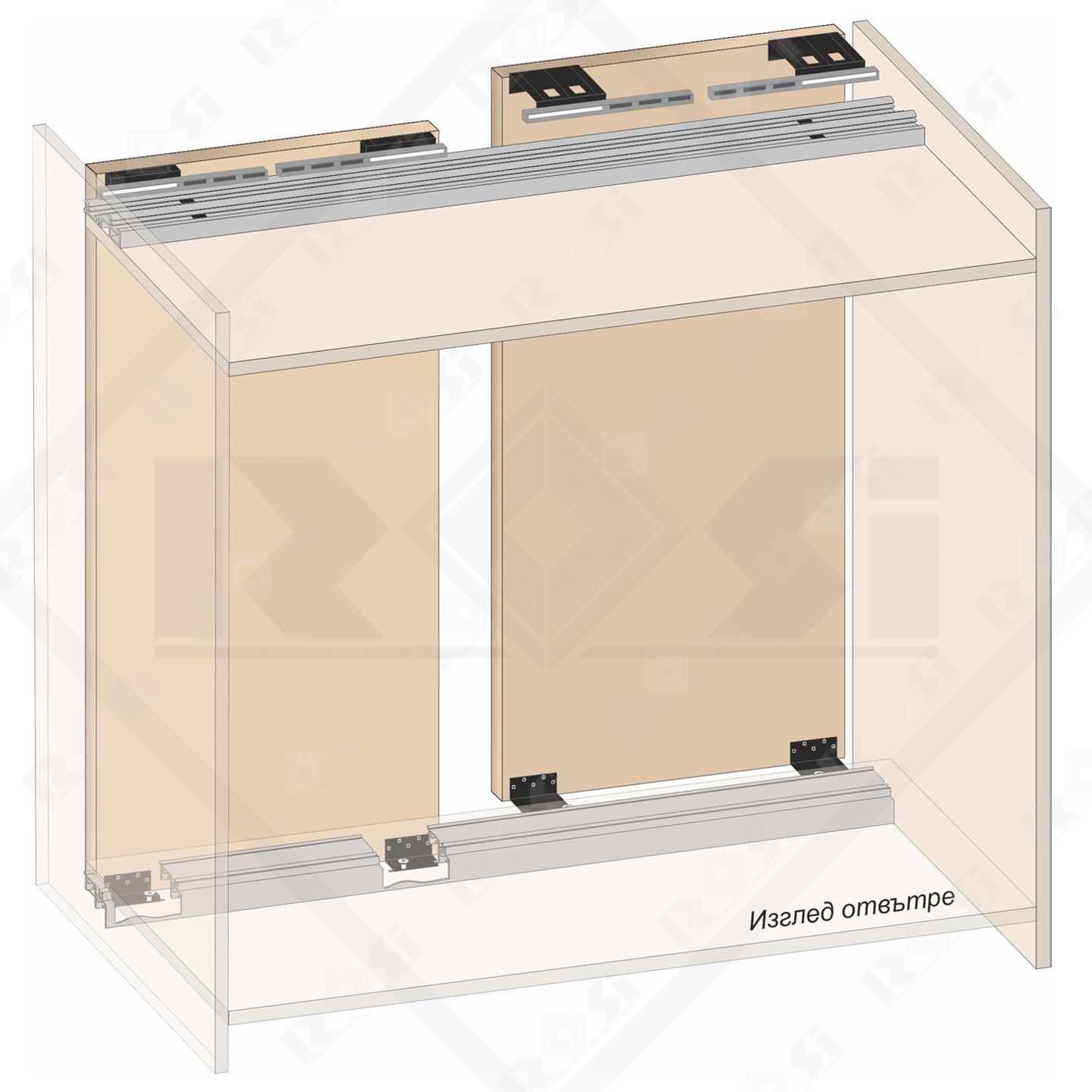 sliding mechanism for cabinets with soft closing